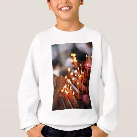 Candles burning inside Chinese Buddhist temple Sweatshirt