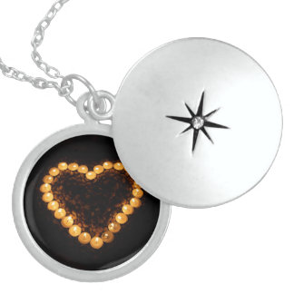 Candles In Heart Shape Sterling Silver Locket