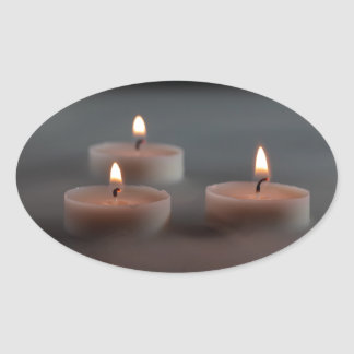 Candles in the mist oval sticker