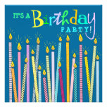 Candles on Blue Birthday Party Invitation
