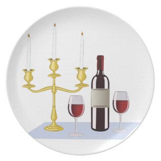Candles & Wine Melamine Plate