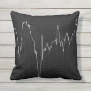 Candlestick chart on black outdoor pillow