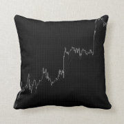 Candlestick chart on black throw pillow
