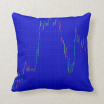 Candlestick chart on blue throw pillow