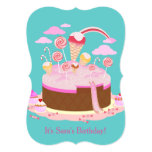 Candy and chocolate cake for birthday party 5x7 paper invitation card