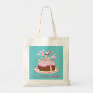 Candy and chocolate cake for birthday party budget tote bag