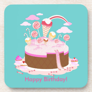 Candy and chocolate cake for birthday party beverage coaster