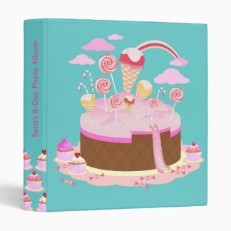 Candy and chocolate cake for birthday party binder