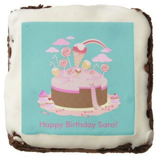Candy and chocolate cake for birthday party brownie