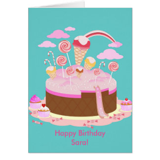 Candy and chocolate cake for birthday party card