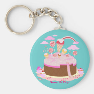 Candy and chocolate cake for birthday party keychain