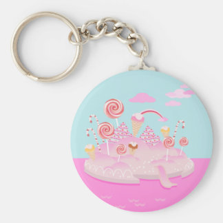 Candy and chocolate cake for birthday party basic round button keychain