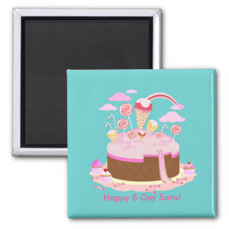 Candy and chocolate cake for birthday party 2 inch square magnet