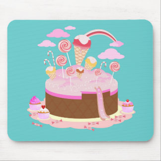 Candy and chocolate cake for birthday party mouse pad