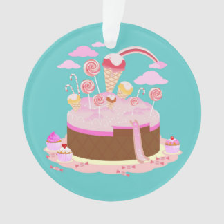 Candy and chocolate cake for birthday party ornament