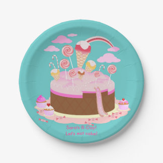 Candy and chocolate cake for birthday party paper plate