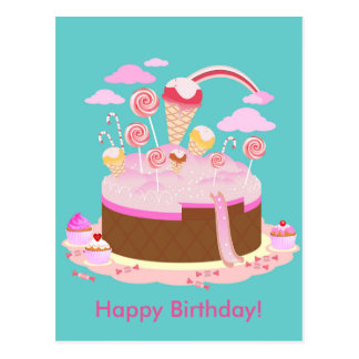 Candy and chocolate cake for birthday party postcard