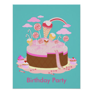 Candy and chocolate cake for birthday party poster