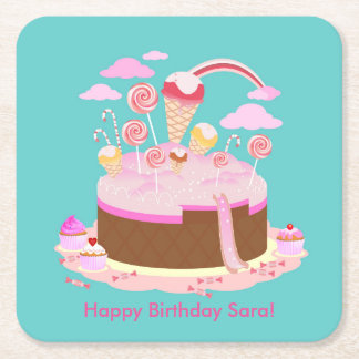 Candy and chocolate cake for birthday party square paper coaster