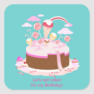 Candy and chocolate cake for birthday party square sticker