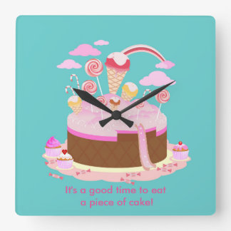 Candy and chocolate cake for birthday party square wall clock