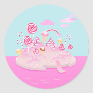 Candy and chocolate cake for birthday party classic round sticker