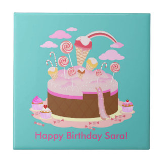 Candy and chocolate cake for birthday party tile