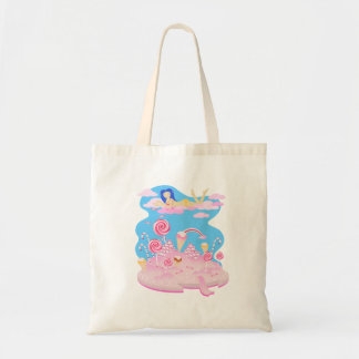 Candy and chocolate cake for birthday party tote bag