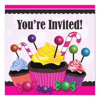 "Candy and Cupcake Sweet Party Invitation 5.25"" Square Invitation Card"