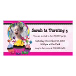 Candy and Cupcake Theme Birthday Photo Invitation Photo Greeting Card