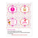 Candy and sweets cupcake toppers and tags postcard