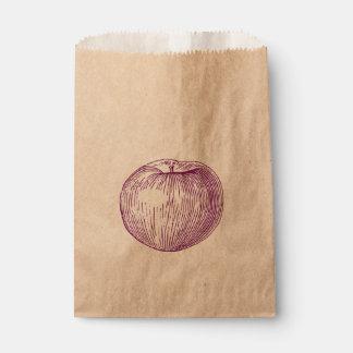Candy Apple Purple Letterpress Apple Favor Bag