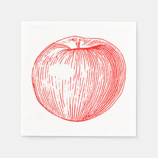 Candy Apple Red Letterpress Apple Napkin