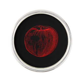 Candy Apple Red Letterpress Apple Pin