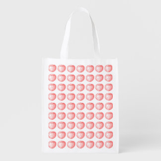 Candy Apple Red Letterpress Apple Reusable Grocery Bag