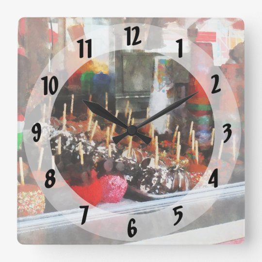 Candy Apples Square Wall Clock