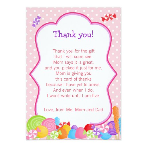 Candy Baby Girl Shower Thank You Card | Zazzle