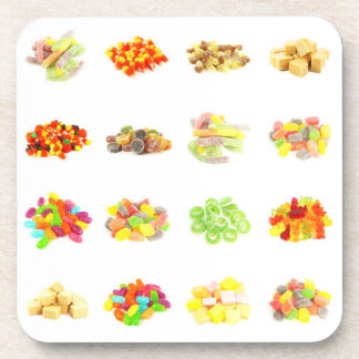 Candy Background and Assorted Types on White Art Coaster