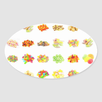 Candy Background and Assorted Types on White Art Oval Sticker