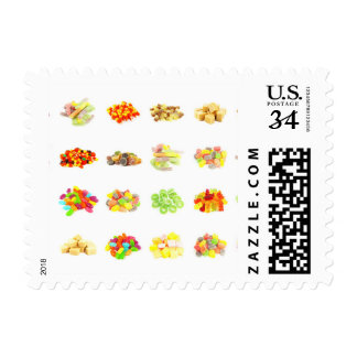 Candy Background and Assorted Types on White Art Postage