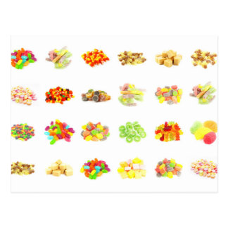 Candy Background and Assorted Types on White Art Postcard