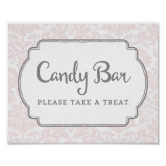 Candy Bar Baby Shower Sign Blush Pink Damask Poster