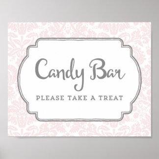 Candy Bar Baby Shower Sign Blush Pink Damask Poster