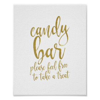 Candy Bar Gold Glitter Script 8x10 Wedding Sign