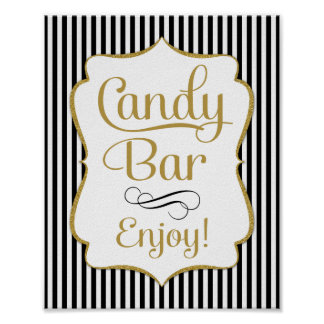Candy Bar Sign Black Gold Buffet