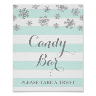 Candy Bar Sign Blue Stripes Silver Snow