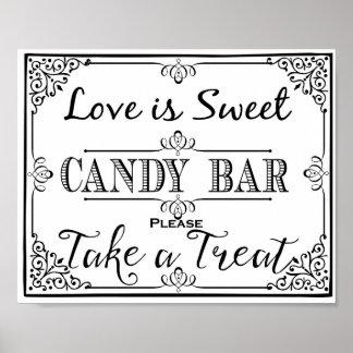 Candy bar sign elegant black wedding or party sign