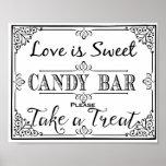 Candy bar sign elegant black wedding or party sign poster