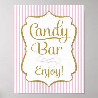 Candy Bar Sign Pink Gold Buffet