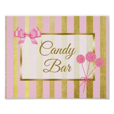 Wedding Themed Candy Bar Sign Pink & Gold Poster